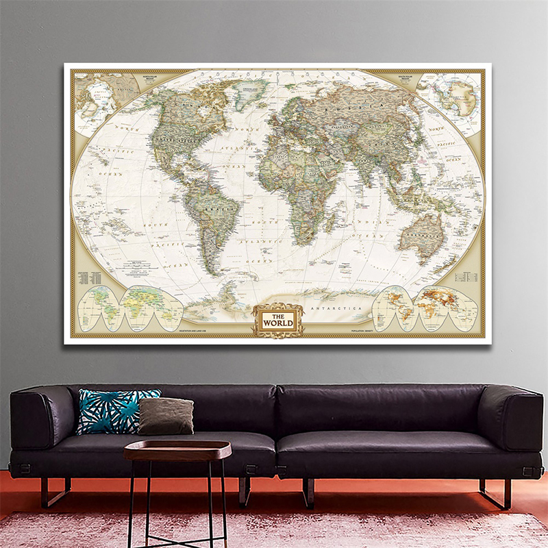 150x100cm Vintage The World Spray Map Non-woven World Map Without National Flag Antique Poster For Beginner