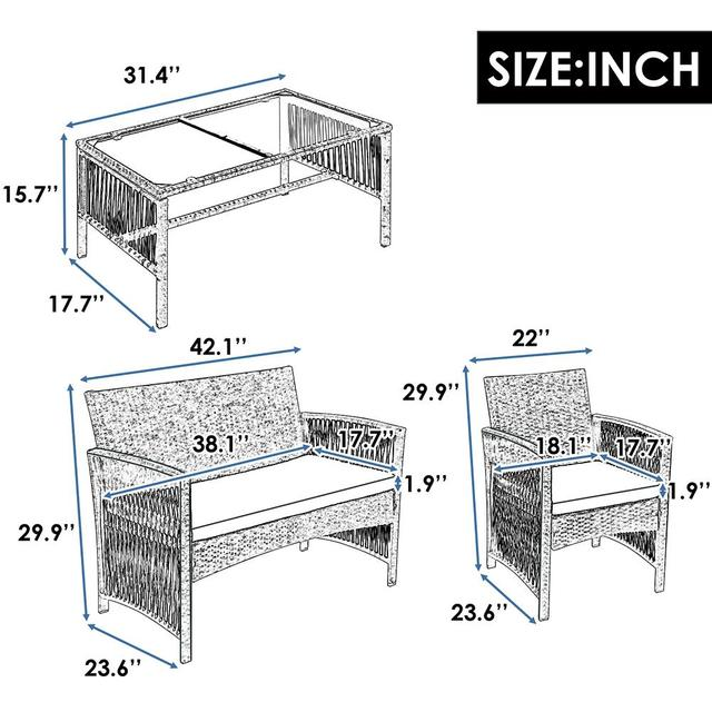 4 in 1 Garden Patio Furniture Set 2