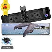 "Hgdo 12 ""Auto Dvr Hisilicon 2K 1440P Achteruitkijkspiegel Sony Dual Lens Fhd 1080P Auto Achter camera Dash Cam Video Recorder Met Mount"