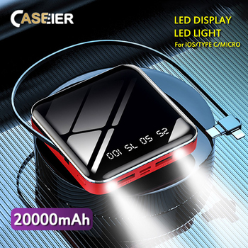 CASEIER Power Bank 20000mAh With Cable Powerbank 10000mAh Poverbank Portable Charger Power Bank With Digit Display LED Light