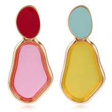 Wholesale Korean New Colorful Earrings Transparent Geometric Irregular Earrings For Women 2019 Fashion Jewelry Oorbellen Brincos free shipping fashion women new jewelry wholesale wood combination geometric rectangular earrings for women