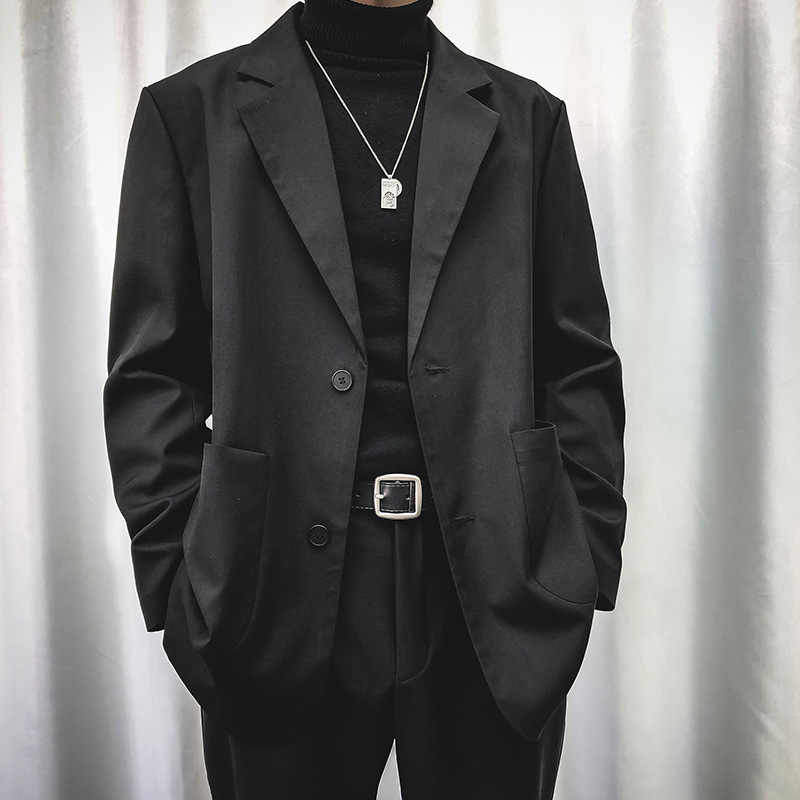 Men Casual Blazer Suit Jacket Male Women Japan Korea Streetwear Retro Fashion Loose Suit Coat Outerwear