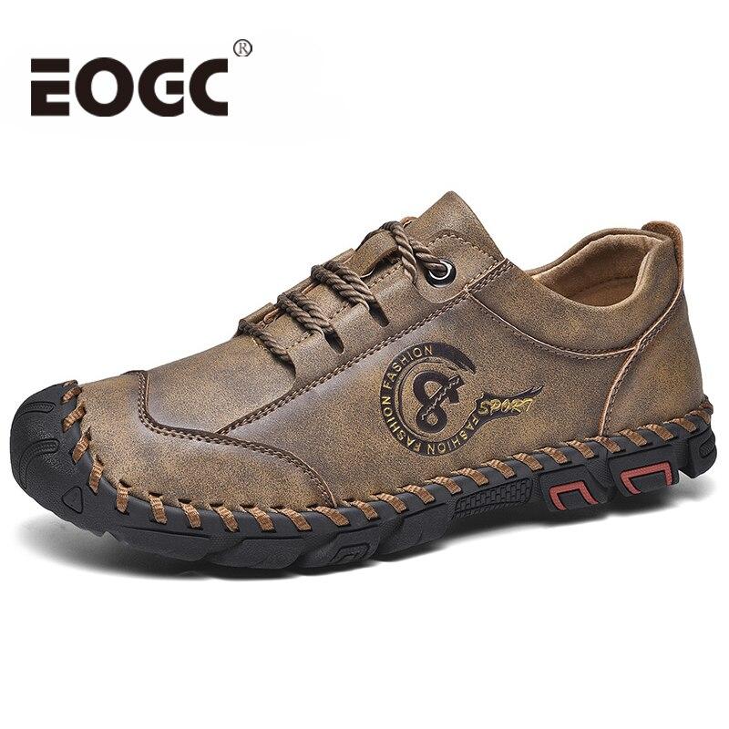 Sapatos de couro feitos à mão homens mocassins qualidade split couro sapatos casuais mocassins tamanho 36-48