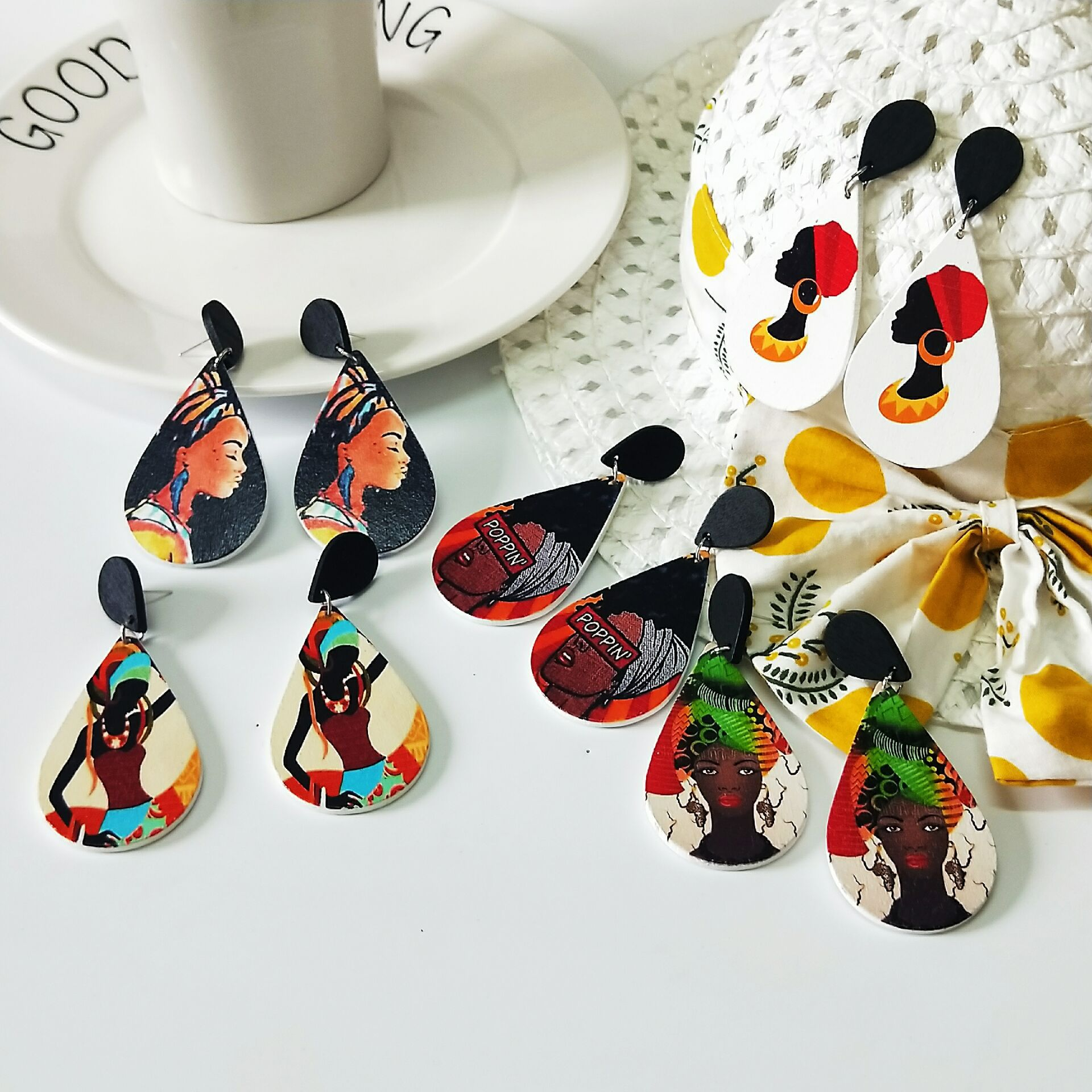 Tribal Wood Africa Women Water Drop DIY Colorful Painting Afro Vintage Drop Dangle Earrings Round Wooden Boho Bohemia Jewelry