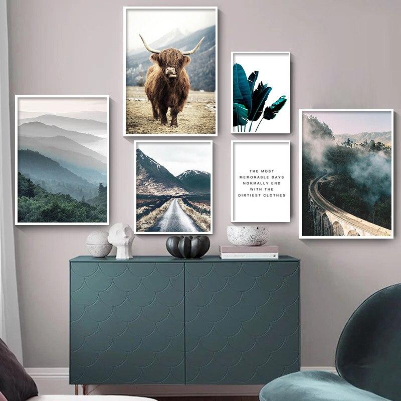 Настенная картина в скандинавском стиле с изображением природного ландшафта, постер на холсте с изображением коровы, туманного леса, Скандинавское украшение, картина для домашнего декора