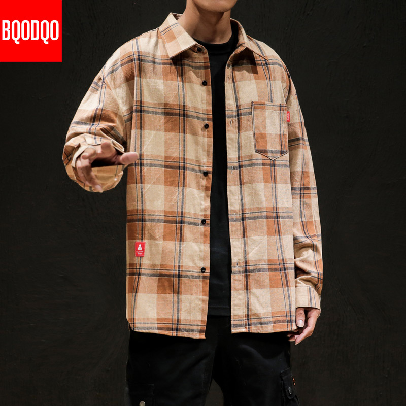 Plaid Long Sleeve Cotton Shirt Men Casual Japanese Army Mens Clothing Plus Size 2019 Streetwear Autumn Spring Social Shirts Top