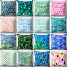 Peach Beludru Sarung Bantal Mermaid Sarung Bantal Marine Sarung Bantal Musim Panas Sofa Sarung Bantal Dekorasi Rumah(China)