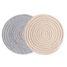 Place mat Pad Coasters Kitchen Table Mats Cotton Linen Knitting Bowl Mats Padding Mat Insulation Pad Round Place mats