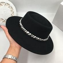 Klassische schwarz wolle? Flache krempe hut mode breiten krempe bump hüte für männer und frauen freizeit filz hut Fedoras Panama