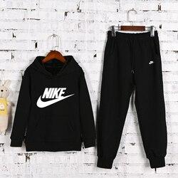 Новая зимняя детская одежда Nike, повседневные спортивные костюмы с буквенным принтом, 2 шт./компл., Одежда для младенцев, детские толстовки с к...