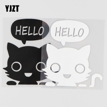 YJZT 10.2CM*11.1CM Hello Funny Vinyl Car Sticker Jdm Racing Window Decal Stance Heart Black/Silver 4A-0179 image