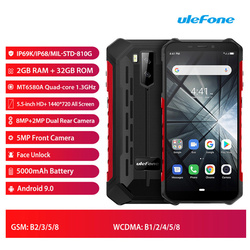 Перейти на Алиэкспресс и купить ulefone armor x3 rugged smartphone 2gb ram 32gb rom 5.5дюйм. mtk6580 quad core android 9.0 5000mah 8.0mp fingerprint mobile phone