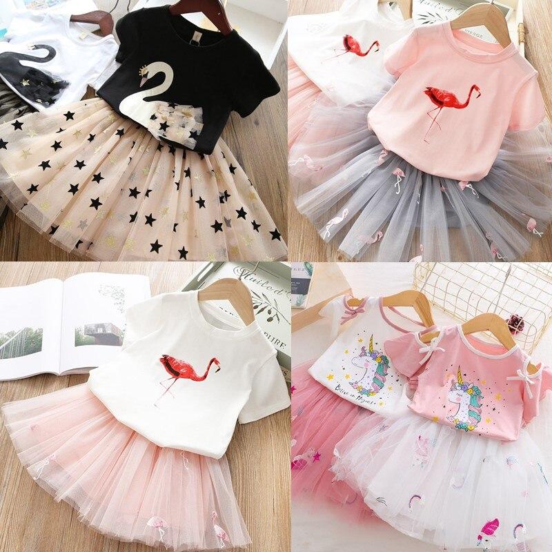 Girls Clothing Sets 2020 Summer Princess Girl Bling Star Flamingo Top + Bling Star Dress 2pcs Set Children Clothing Dresses