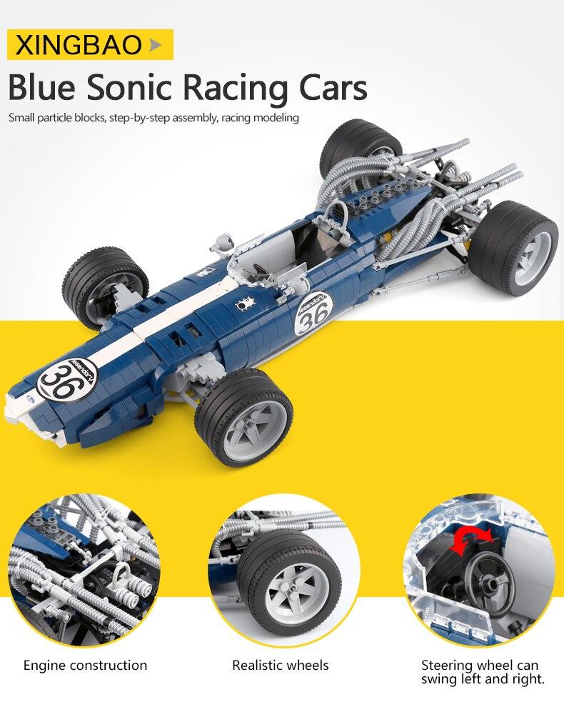 Xingbao 03022 الأزرق سباق سيارة اللبنات F1 المتسابق نموذج الطوب تجميعها لعب الأولاد متوافق legoed تكنيك المتسابق مجموعة-في حواجز من الألعاب والهوايات على  مجموعة 3