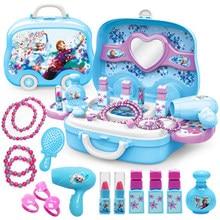 Disney-conjunto de maquillaje de princesa frozen para niñas, juguetes de belleza para niños, tocador de simulación, juguetes de moda