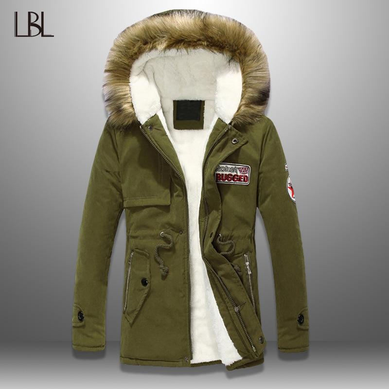 Winter Parka Men Fur Collar Thick Warm Jacket Men Hooded Overcoat Outwear Warm Coat Top Wool Liner Parka Coats Man Plus Size 4XL
