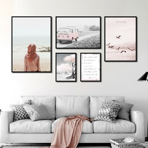 Pink Wall Art Landscape Canvas Paintings Seagull Sea Tree Sheet Music Car Poster Home Decor Pictures For Living Room