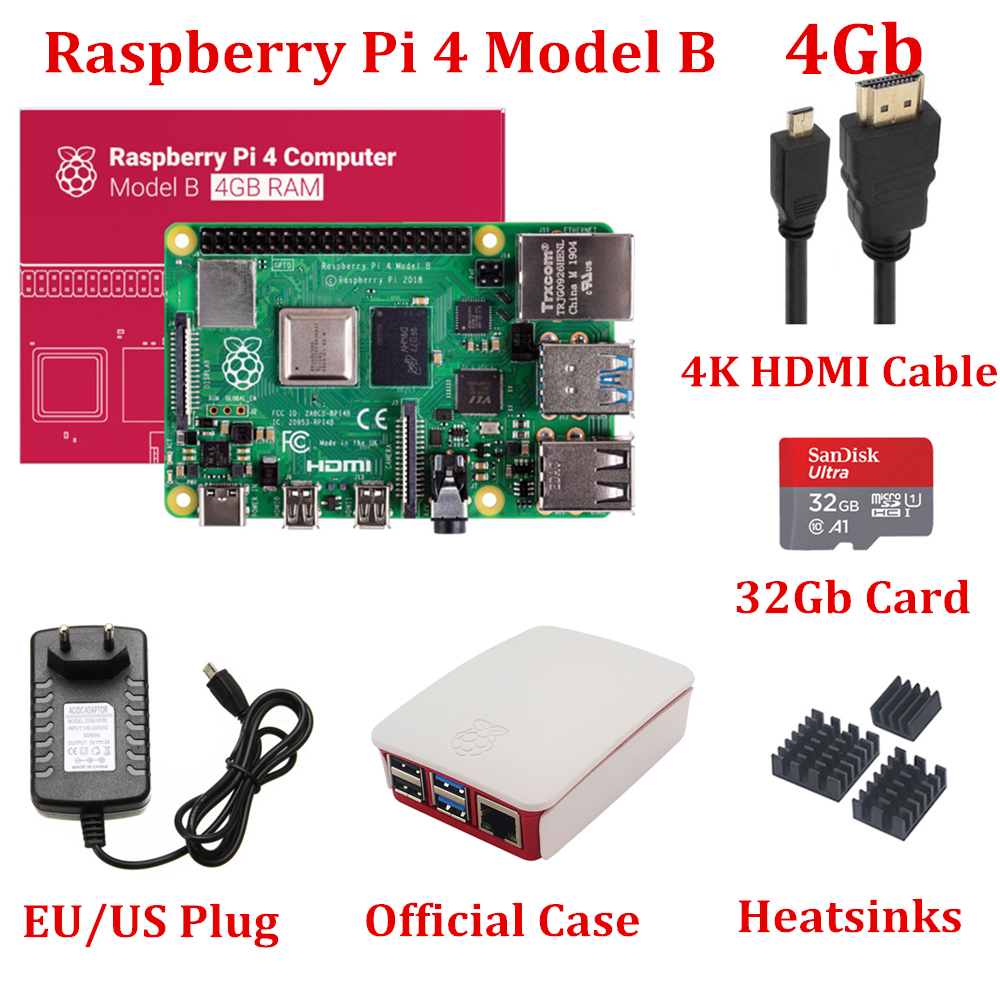New Raspberry Pi 4 Model B 4GB RAM With Official Raspberry Pi Case 32Gb Card Heatsinks 4K HDMI Cable 5V3A Power Supply For RPi 4