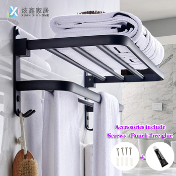 Towel Rack Bathroom Holder Matte Black Aluminum Organizer Hanger Wall Mounted Folding Locker Room Storage Shelf Hook Accessories - discount item  24% OFF Bathroom Fixture