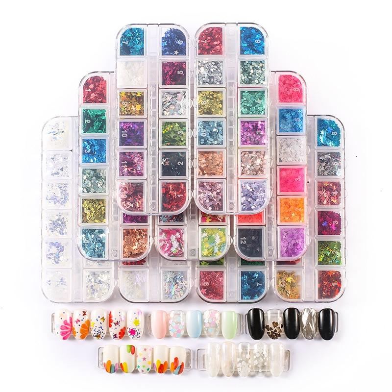 CHNRMJL 12Grids/Set Nail Glitter Sequins 32 Styles Nail Powder Flake Paillette Tips DIY 3D UV Gel Nails Art Decorations Tool Kit
