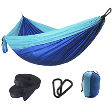 Upgrade Camping Hammock with Double Hammock Tree Straps Portable Parachute Colorblock Nylon Hammock for Backpacking Travel tanie tanio Classic Meble ogrodowe Dwie osoby TLM156 Dorosłych Soild-splice Pasy i Pasy hamak