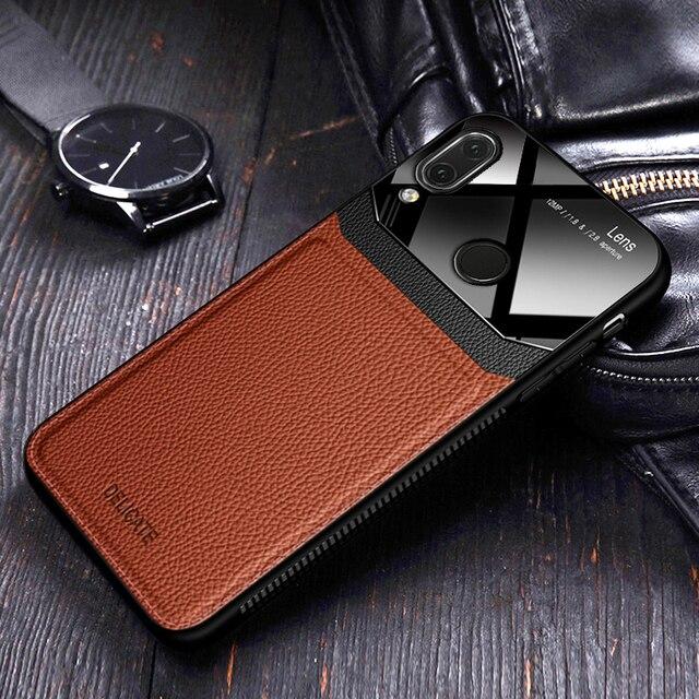 Eu coque, capa, caso, para xiaomi redmi nota 7 pro note7 em couro espelho de vidro silicone à prova de choque telefone luxo macio bonito casos