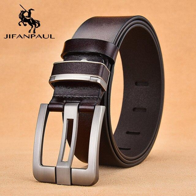 JIFANPAUL бренд подлинный мужской модный кожаный ремень сплав Материал Пряжка Бизнес Ретро Мужские джинсы дикие ремни высокого качества - Цвет: RT 3.8CM Coffee