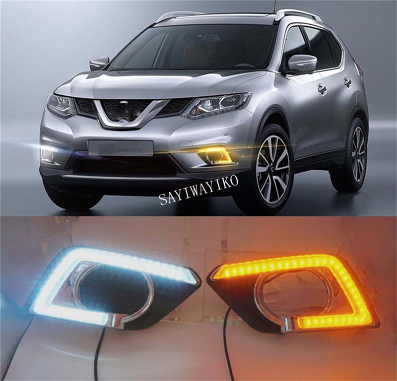 Turn Signal style Relay 12V LED CAR Daytime running lights with fog lamp for Nissan X trail X trail Xtrail 2014 2015 2016 DRL|Chromium Styling| |  - title=