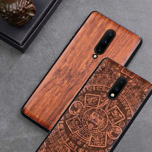 Carved Wood Case For OnePlus 7 Pro One Plus 7 Pro Shockproof Case TPU Bumper Cover For OnePlus 8 7 7T Case Wood Shell Oneplus7(China)