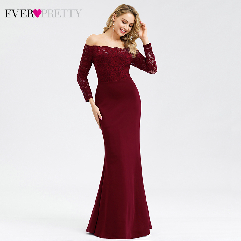 Elegant Lace Prom Dresses Long Ever Pretty Off Shoulder Full Sleeve Autumn And Winter Mermaid Party Gowns Vestido Largo Elegante