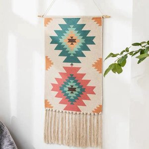 Image 2 - Geometric Tapestry Hand Knotted Tassel Wedding Printed Wall Hanging Decor Muslim Ornament Boho Home Decor Tapestries