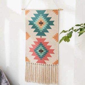 Image 2 - Geometrische Tapestry Hand Geknoopt Kwastje Bruiloft Gedrukt Muur Opknoping Decor Moslim Ornament Boho Home Decor Wandtapijten