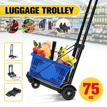 Full Folding Black Iron Alloy Luggage Car Bearing Capacity 75kg Luggage Easy To Carry Trolley Suitcase Schoolbags Shopping Carts