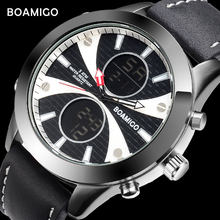 Boamigo Merk Mannen Sport Horloge Fashion Casual Led Quartz Waterdichte Multifunctionele Chronograaf Relogio Masculino(China)