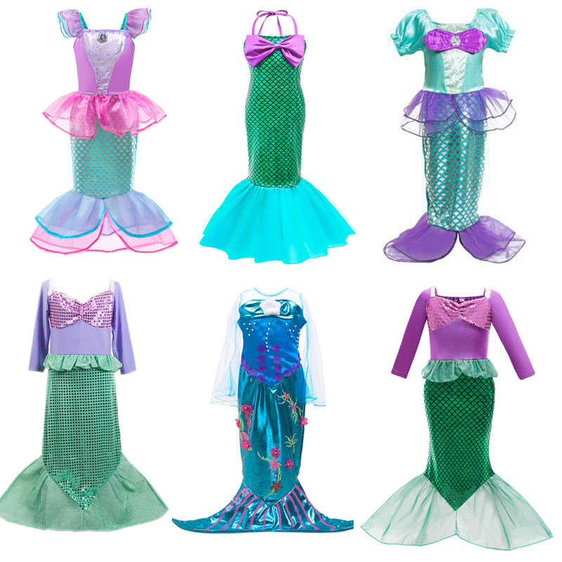 Mermaid Cosplay Dress for Girls Princess Kids Costume Clothes for Party Christmas Halloween Birthday Children Clothing Dresses