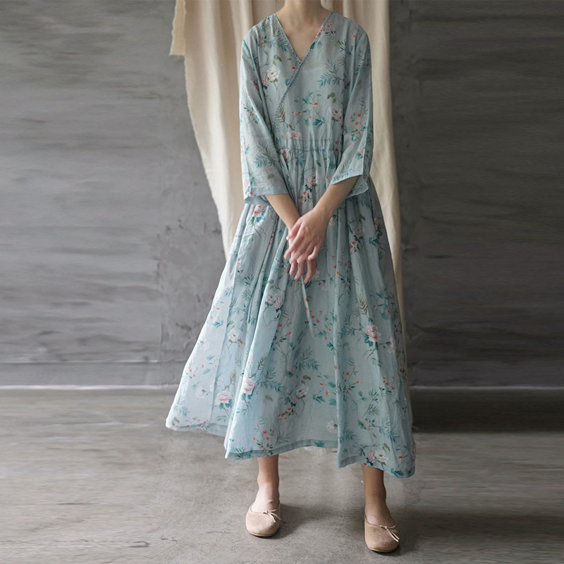 Johnature Vintage Maxi Dress Loose Print Three Quarter Sleeve V neck Summer Dress 2019 New Clothes Ankle length Women Dress