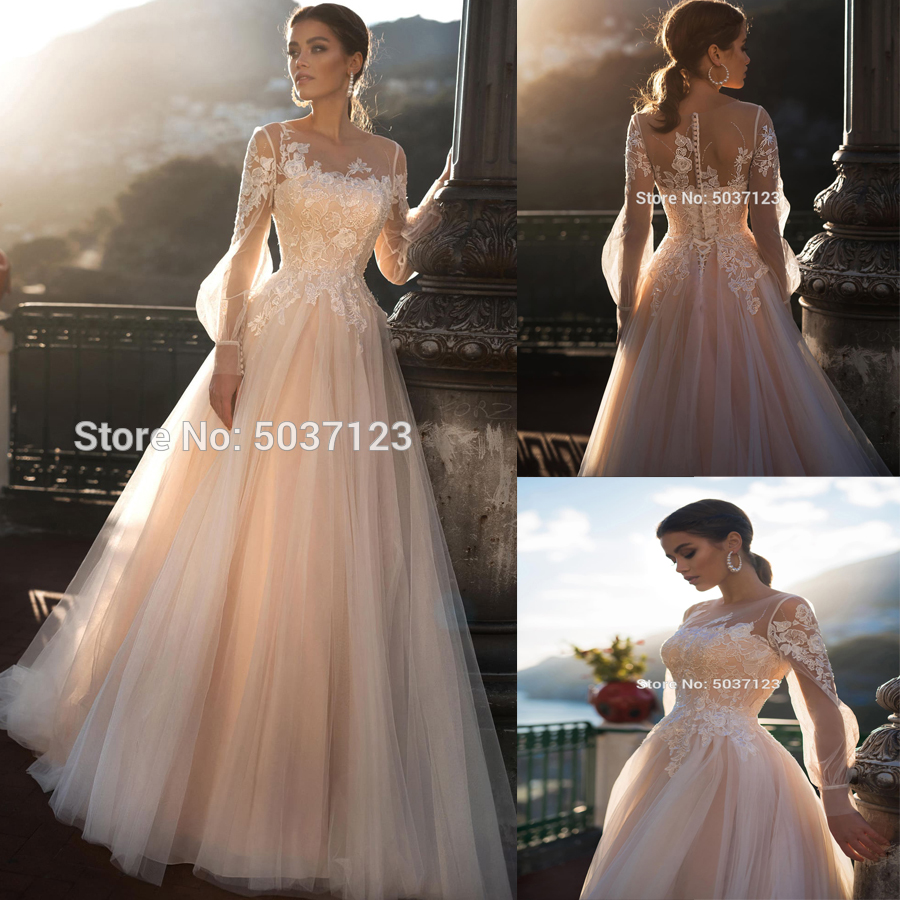 A Line Wedding Dresses Vestido De Noiva Mariage Beach Long Puff Sleeves Lace Appliques Lace Up Button Bridal Wedding Gowns