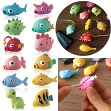 Cute Animal Cable Protector For Iphone Charger Cord Wire Cartoon Protection Mini Silicone Cover Charging Winder