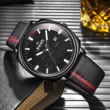 Swish новейшие кожаные Наручные часы мужские черные модные светящиеся