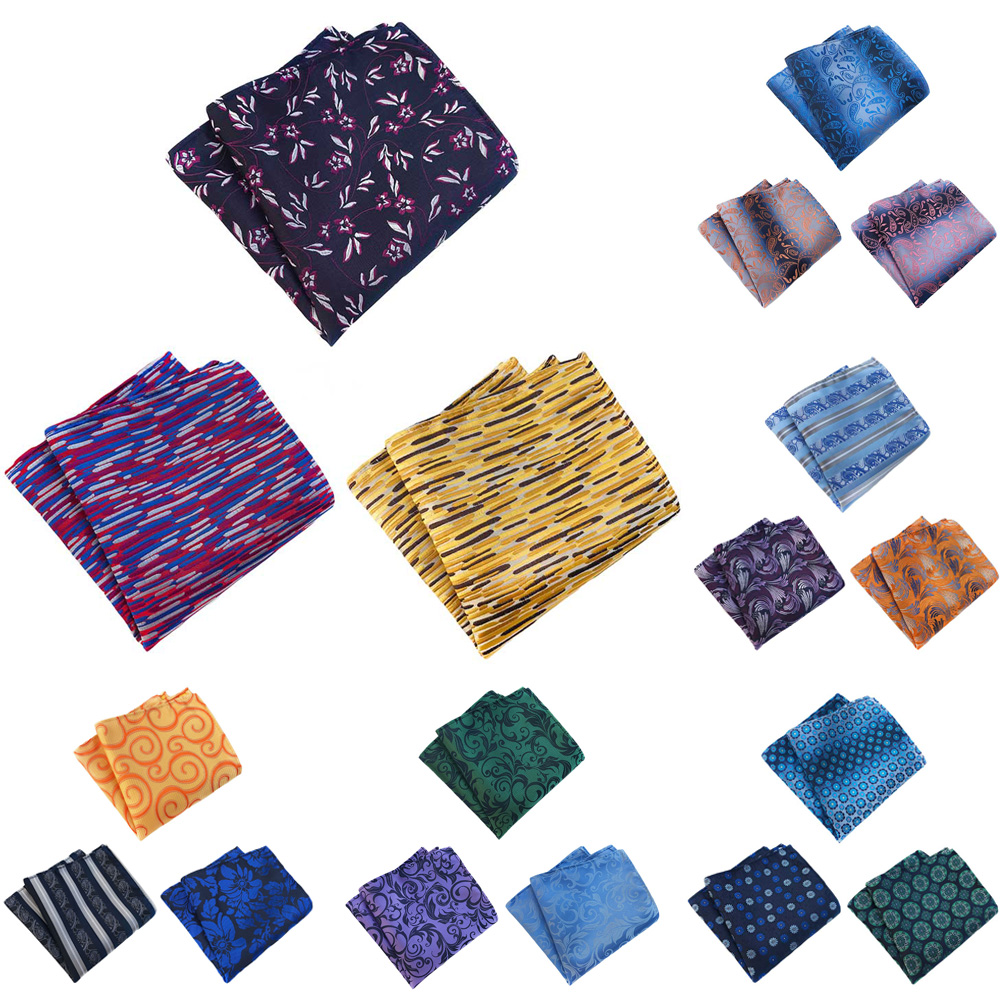 3 Packs Men's Classic Colorful Floral Pocket Square Handkerchief Wedding Hanky BWTHZ0363