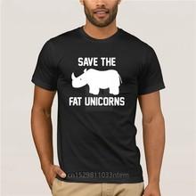 T camisa de manga curta masculina t camisa de unicórnio t salvar a gordura unicórnios impresso t camisa
