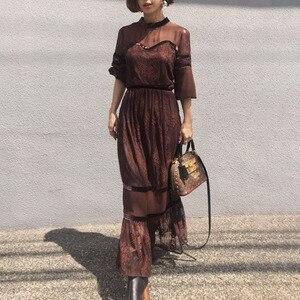 Elegancka koronka kobiety długa sukienka koreański styl japoński 2020 lato wysokiej talii linia maxi suknie robe femme vestiods urząd lady