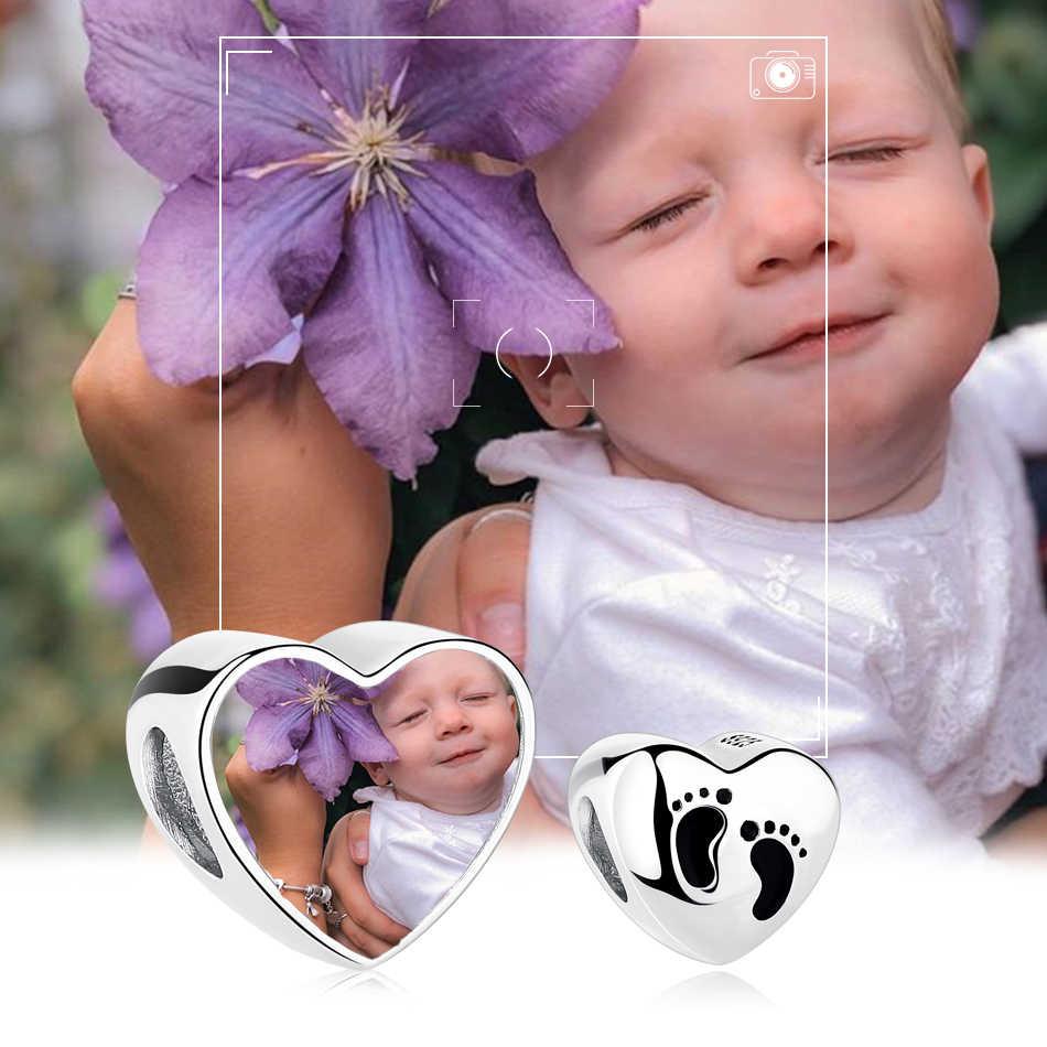 Orma del bambino di Perle Del Cuore 925 Sterling Silver Personalizzata Foto Pendenti e Ciondoli fit Braccialetti con ciondoli Lunga Collana Donne Regalo Gioielli Femminili
