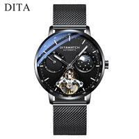 스켈레톤 뚜르 비옹 기계식 비즈니스 시계 남성 브랜드 최고급 루미 너스 스테인레스 스틸 남성 자동 시계 New 2019 DITA
