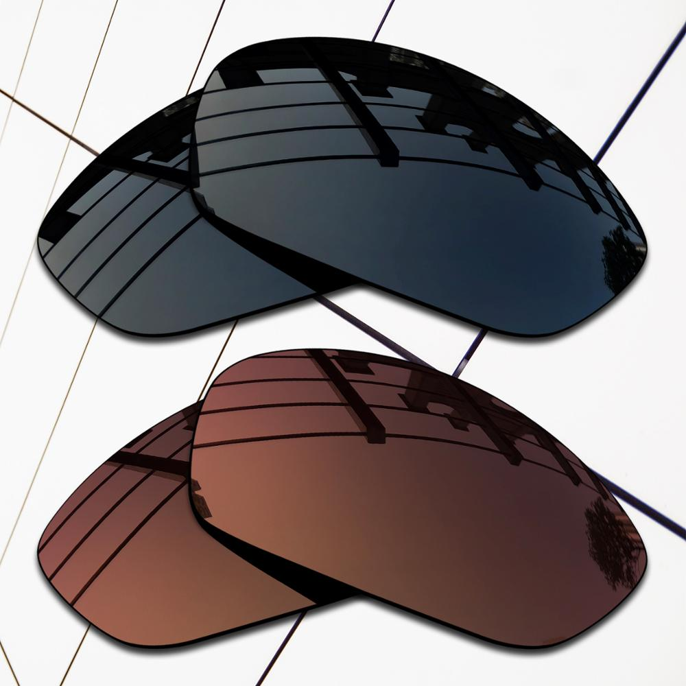E.O.S 2 Pairs Black & Brown Polarized Replacement Lenses for Oakley Whisker Sunglasses