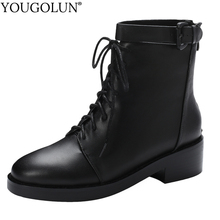 цены Genuine Leather Ankle Boots Women Winter Mid Square Heels Shoes A377 Woman Round Toe Lace Up Black Buckle Zipper Martin Boots