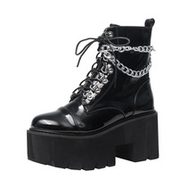 Купить с кэшбэком Gothic Shoes Winter Snow Boots Women Black Lace Up Chian Mid Boots Punk Rock Motocycle Boots Cool Girl Martin Boots