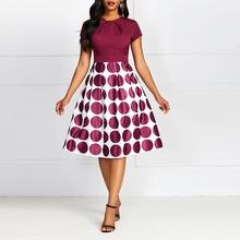 Elegant Vintage Red A Line Wave point Party Dress Women Round Neck Fold Office Lady Dresses 2019 Winter Autumn Trendy(China)