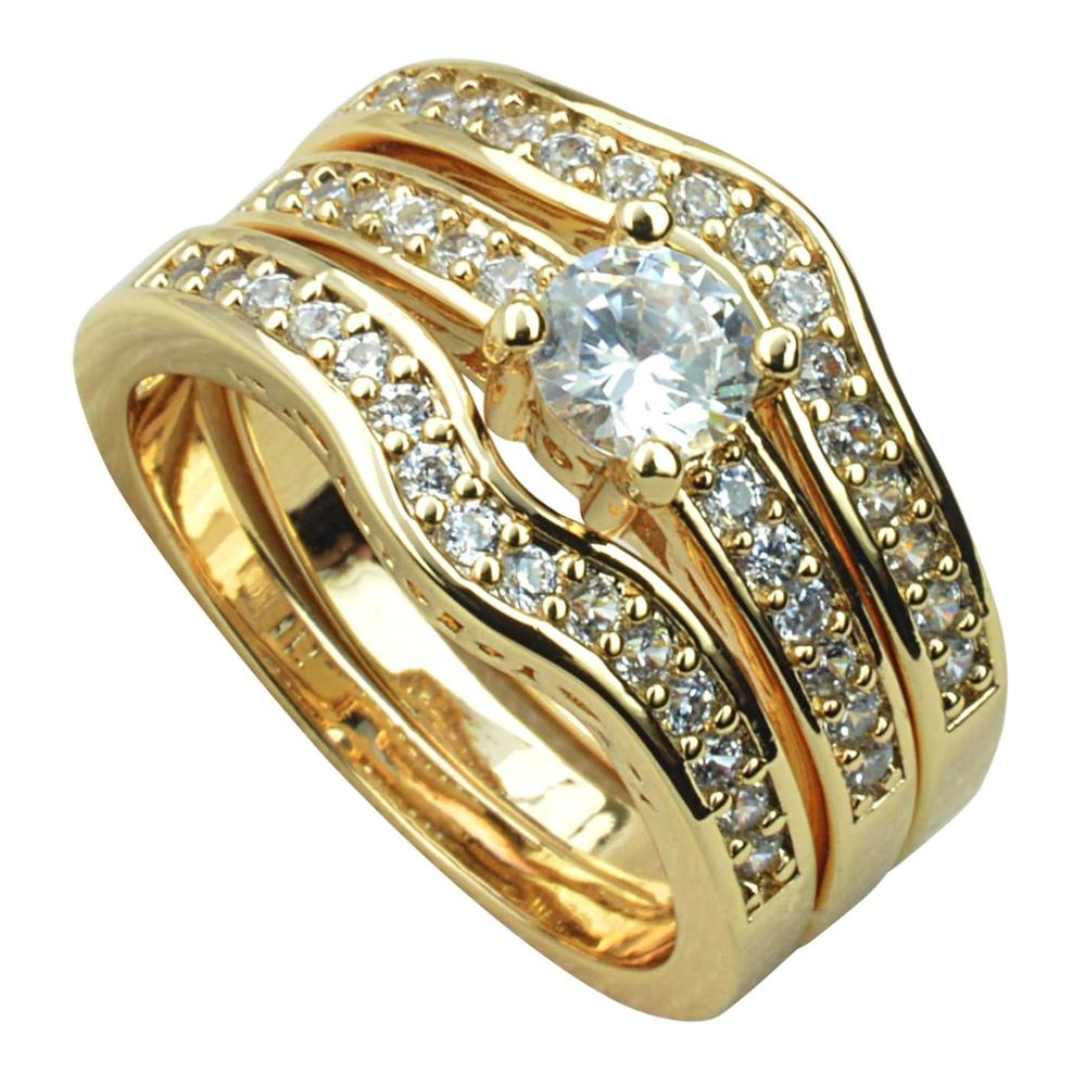Carofeez Vintage Gold-Color Women Rings Set Luxury Rhinestones Zircon Wedding Band For Women Fashion Jewlery Anniversary Gift
