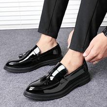 Туфли мужские деловые с кисточками кожаные лоферы свадебные